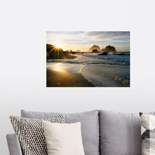 Coastal Home Decor Sunset Over Beach Scene Poster Art Print