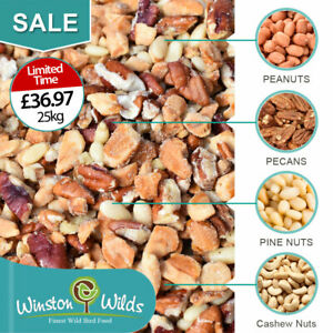 25kg Wild Bird Peanuts, Chopped Mixed Nuts. Aflatoxin Tested. Finest Grade.