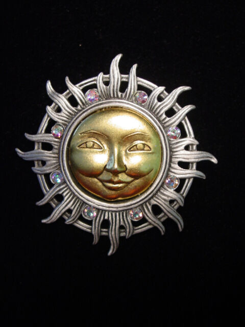"""JJ"" Jonette Jewelry Silver Pewter 'Gold Faced SUN w/Jeweled Rays' Pin"