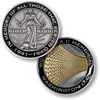 World War Ii Memorial Challenge Coin Mall Washington Dc Wwii Ww2 Veterans Vets