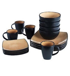 Attirant Image Is Loading Square Dining Set Dinnerware Plates Dishes Bowls Mugs