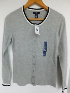 NWT-Gap-Women-039-s-Crew-Cardigan-Grey-Tipped-X-Small-amp-Small-Free-Shipping-MSRP-40