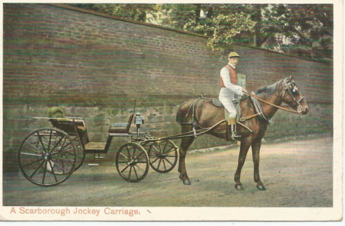 1905 SCARBROUGH JOCKEY CARRIAGE POSTCARD WITH KING EDWARD VII d GREEN REF 168