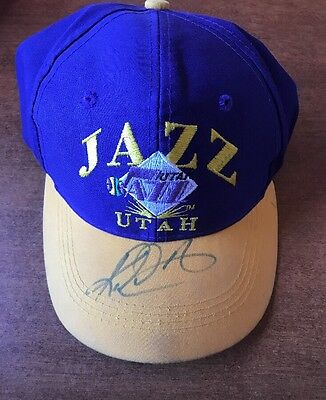 64f71bea26facf Old School Utah Jazz Signed Hat Signed Autographed Karl Malone Mailman JSA  COA
