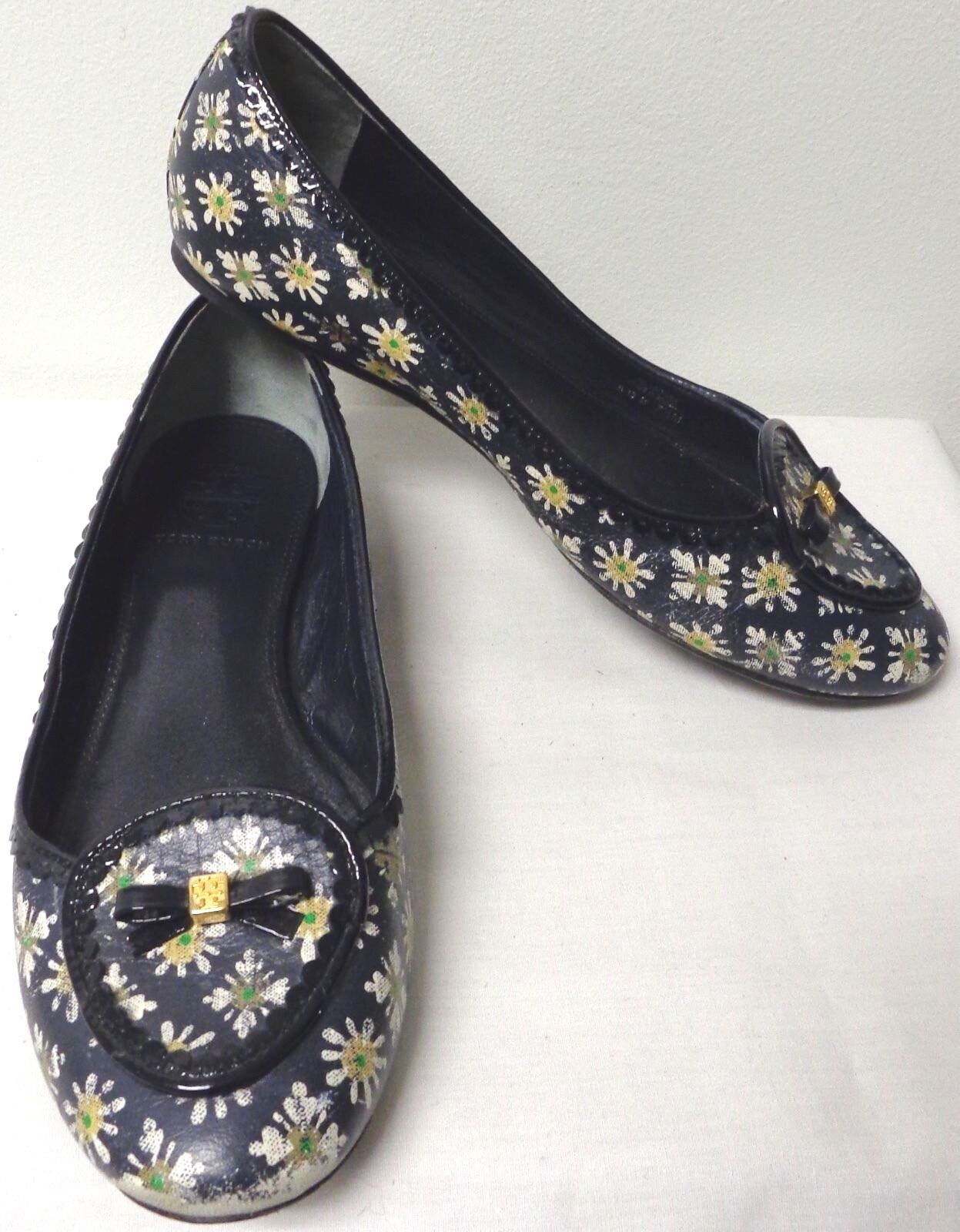 TORY BURCH NAVY Blau W WEISS LEATHER & YELLOW DAISY FLOWERS LEATHER WEISS BALLET FLATS 7.5 M a1ad95