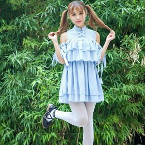 Lady-Off-Shoulder-Ruffles-Frog-Dress-Short-Lolita-Pleated-Vintage-Chinese-Style