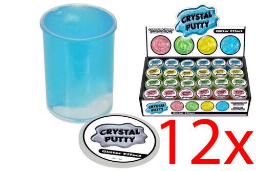 12 X Enfants Crystal Mastic paillettes Amusant Farce Blague Cadeau de Noël coloré Slime 50 g