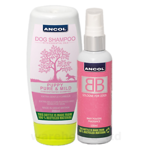Ancol-BB-Dog-Puppy-Cologne-amp-Shampoo-New-Baby-Powder-For-All-Coats
