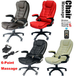 6 Point Heated Vibrating Massage Office Chair Wireless Reclining