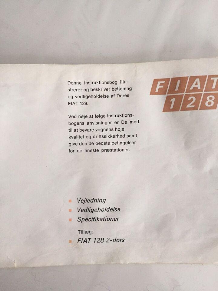 Instruktionsbog FIAT 128, Instruktionsbog