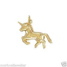 9ct Yellow Gold Galloping Unicorn Hollow Charm Pendant 0.7g *BRAND NEW* Present