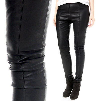 RTBU Punk Rock Stretch Vegan Faux Leather Like CenterLine Seam Cigarette Pants