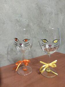 Hand Painted Cat Kitten Face Wine Glass Ebay