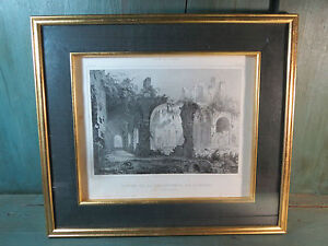 Lithography-Antique-Dauphine-Isere-Savoie-Cassien-Ruins-of-the-Chartreuse