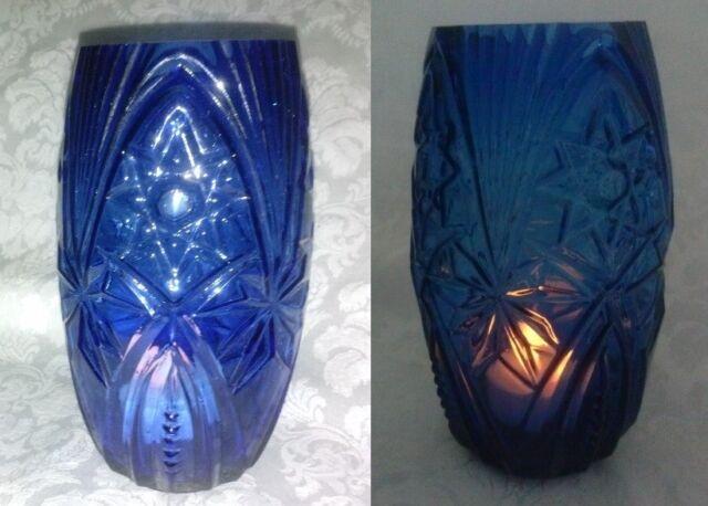"""Vintage cobalt blue star diamond button fan heavy glass flower vase candle 6""""x 3"""