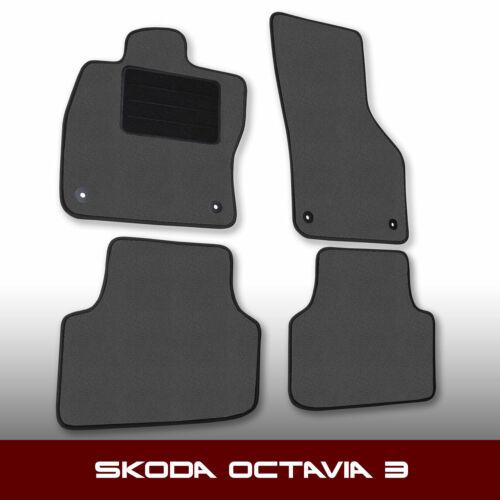 4tlg - Grau Nadelfilz Auto Fußmatten Skoda Octavia 3 5E ab 2012