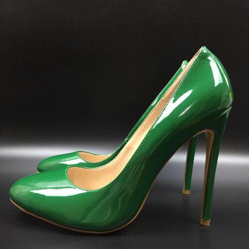 Women Shoes Round toe High Heels Pumps Patent Leather Green Stilettos Fashion