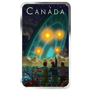 2019 Canada $20 Shag Harbour UFO Glow-in-the-Dark 1 oz .9999 Silver Coin Bar