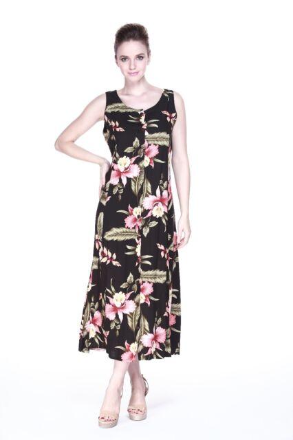 Maxi Long Indigo Dress Button Front Hawaiian Floral Tie Cruise Tropical Black