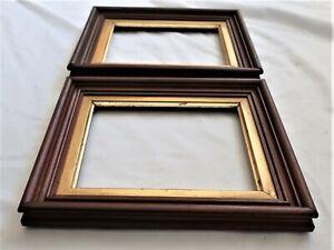 """2 SM Antique Fit 6X7"""" Gold GILT Picture Frames Wood WALNUT Fine Art MINIATURE PR"""