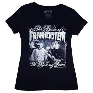 Gothic-Horror-Bride-of-Frankenstein-We-Belong-Dead-Womens-Black-T-Shirt-Size-XL