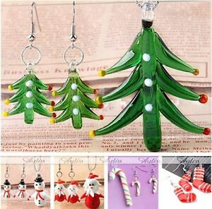 Lampwork-Glass-Christmas-Tree-Santa-Pendant-Earrings-Set-Fashion-Jewelry-Gift