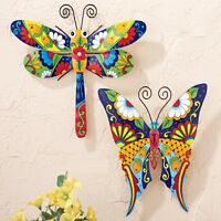 Colorful Flowers Dragonfly Butterfly Metal Wall Hanging Patio Fence Home Decor