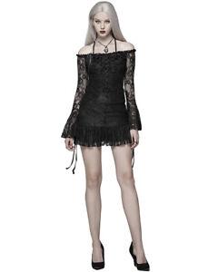 Punk-Rave-Womens-Gothic-Tunic-Top-Mini-Dress-Black-Rose-Lace-Lolita-Steampunk