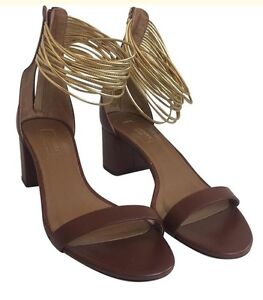 7305c528981 Details about Aquazzura Brown Spin Me Around Sandals Gold Ankle Strap Size  39 1/2