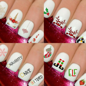 Christmas-Snow-Santa-Nail-Nails-Art-Decal-Wraps-Stickers-Decals-Reindeer-HoHoHo