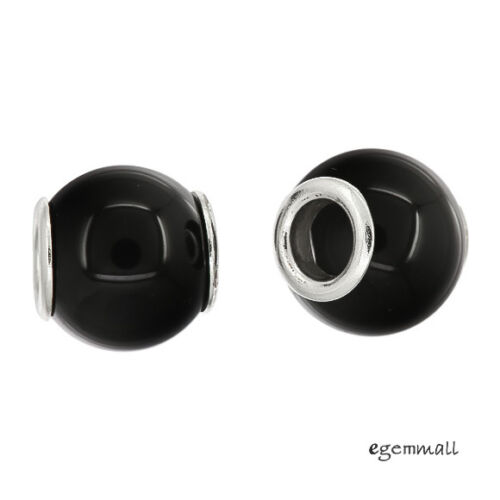 Black Onyx In Sterling Silver Core Rondelle European Charm Bead Choose Sizes