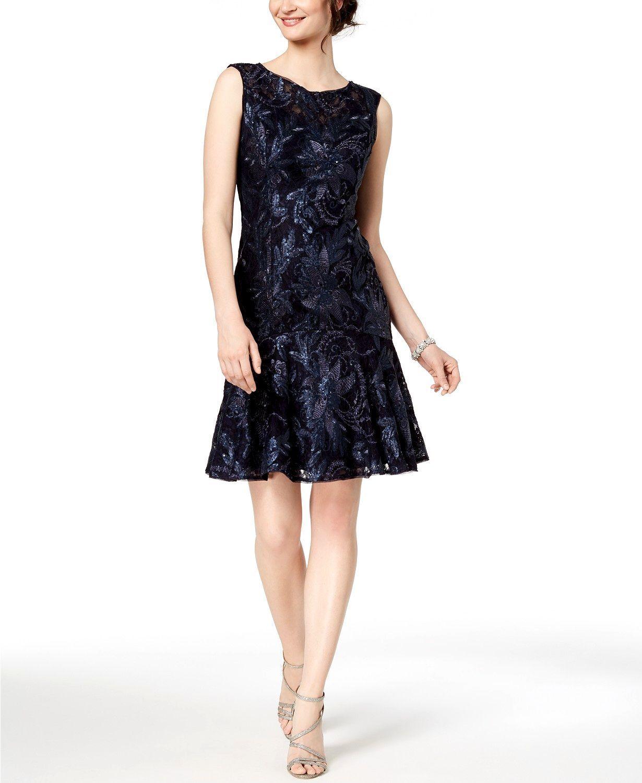 ADRIANNA PAPELL damen Blau SEQUINED LACE FLUTTER SKIRT SHORT DRESS Größe 2