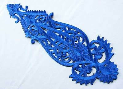 Extra Large Iron-On Appliques Navy Blue Ghagra Lehenga Lace Appliqué From India