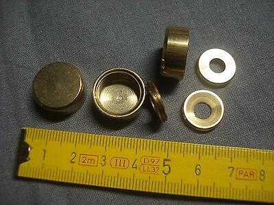 lot de 2 cache vis plat diamètre 18 mm en laiton poli réf LA18P