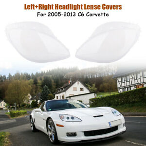 Paire-Couverture-de-phare-Lentille-Lumiere-Lens-Clair-pour-Corvette-C6-2005-2013