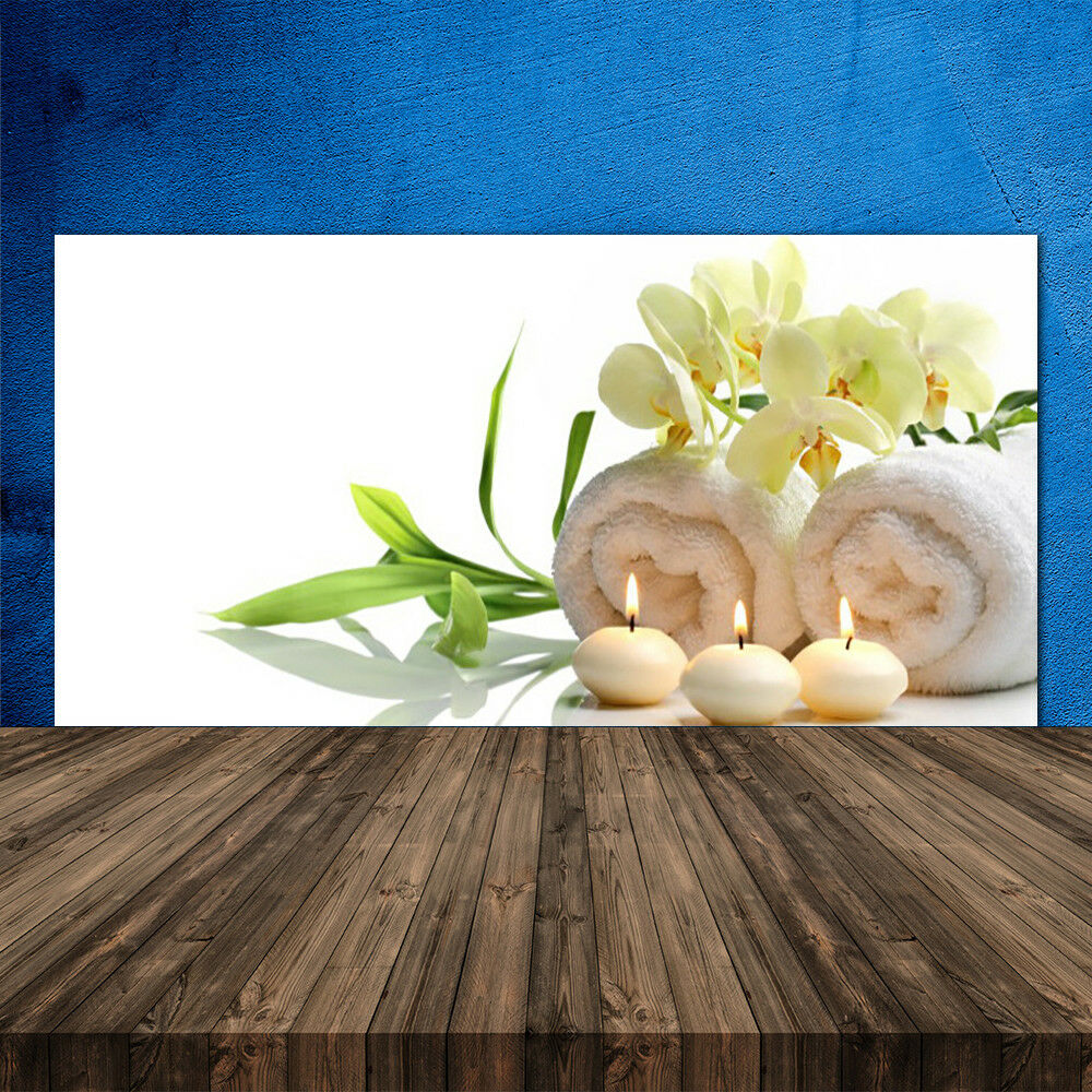 Crédence de cuisine en verre Panneau 120x60 Art Bougies Fleurs Serviettes