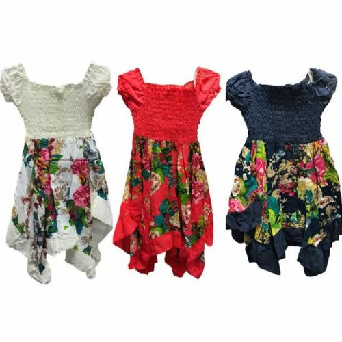 Girls Paisley Floral Hanky Handkerchief Hem Sun Dress Cap Sleeve Age 3-10 Years
