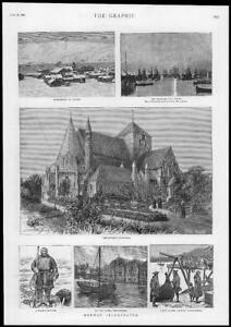 1886-Antique-Print-NORWAY-Hammerfest-Vardo-Midnight-Sun-Throndhjem-River-207