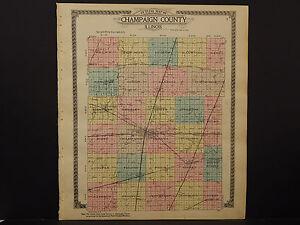 Illinois, Champaign County Map 1913 O2#88 | eBay on
