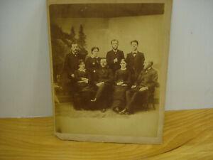 Antique-Victorian-Family-Photo-Cabinet-Card-Men-amp-Women-Studio-Picture-Large-9X7
