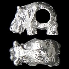 3D Hippopotamus 16mm Silver Plated Large 4mm Hole European Charm Bead 1pc
