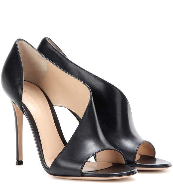 Peeptoe Abendschuhe Damen Highheels Pumps Sandaleen Top Echtleder Elegant Ol32-46