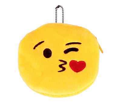 Kosmetiktasche Smiley klein gelb mini Make Up Tasche Kuss Emoji Kulturbeutel