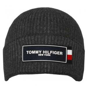5a8f173c24f Image is loading Tommy-Hilfiger-Tommy-Patch-Beanie-Hat-Charcoal
