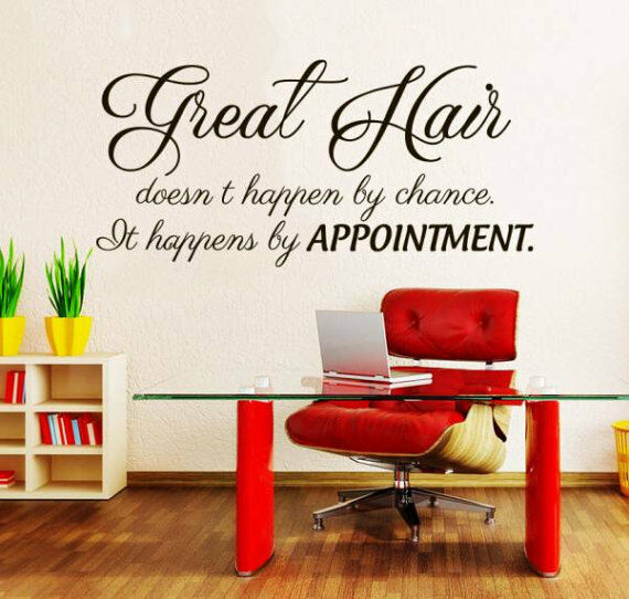 Wand Decal Quotes Great Hair doesn't happen by chance Beauty Salon Decor NV190