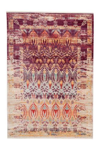Teppich Orientalisch Vintage Muster Ethno Azteken Violett Beige Gelb 80x150cm