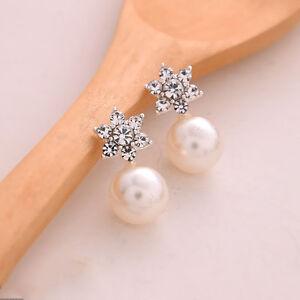 1 Pair Celebrity Womens Crystal Rhinestone Pearl Ear Stud Earrings Jewelry Gift