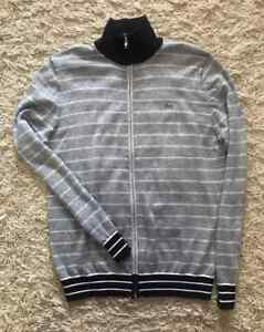 Lacoste Mens Jumper Double Face Chine Stripe Zip Cardigan