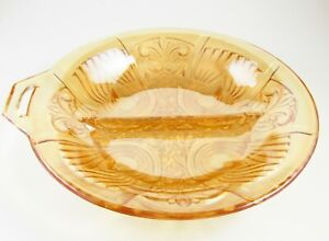 Vintage Iridescent Amber Gold Separated Textured Glass Bowl Candy Dish