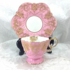 Aynsley Pink Gold Overlay Victorian Cup Saucer Teacup Demitasse Antique